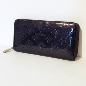 Louis Vuitton purple vernis zip around long wallet